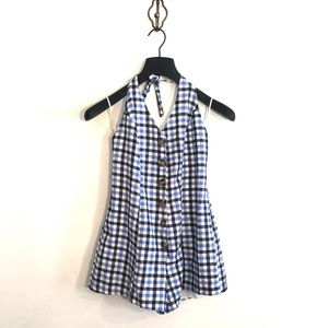 [Urban Outfitters] Blue Flannel Button Down Romper